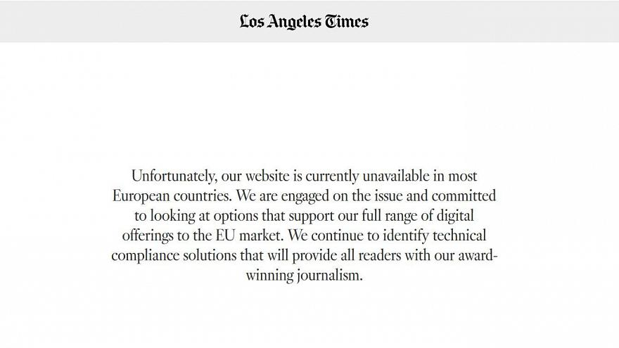 The Los Angeles Times online edition missed GDPR deadline