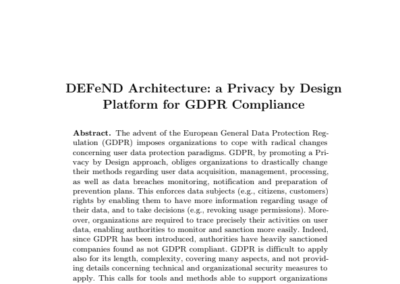 DEFeND Architecture: a Privacy by Design Platform for GDPR Compliance