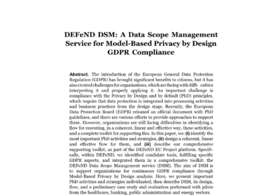 DEFeND DSM: A Data Scope Management Service for Model-Based Privacy by Design GDPR Compliance