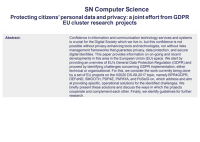 SN Computer Science Protecting citizens' personal data and privacy: a joint effort from GDPR EU cluster research projects